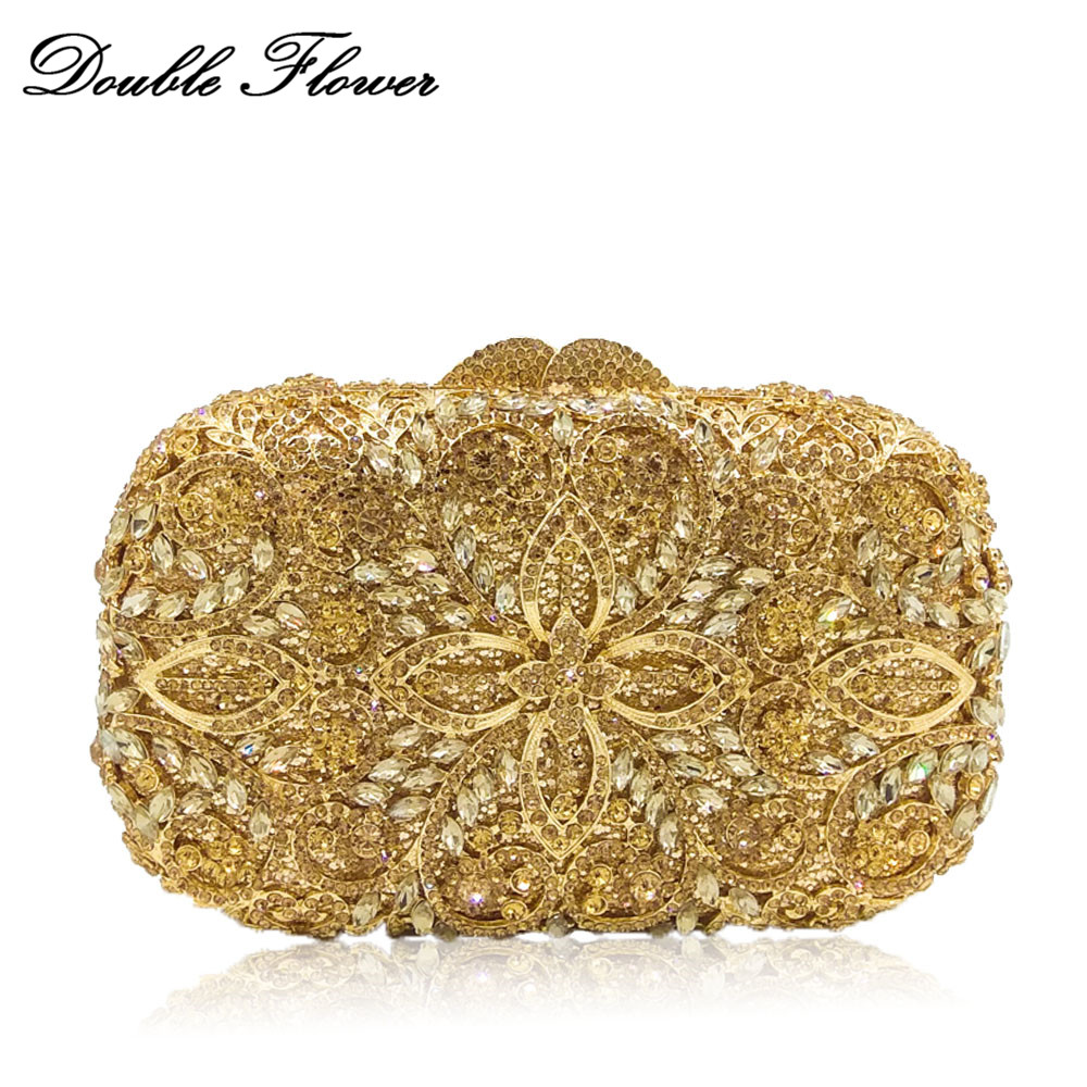 Double Flower Hollow Out Women Gold Crystal Metal Clutches Evening Party Minaudiere Bag Diamond Wedding Bridal