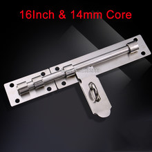 Brand New 16Inch Door Lock Latch Chain Security Bathroom Barrel Bolt Pad Guard 14mm Thickness Solid Core Rod K200/7(China)