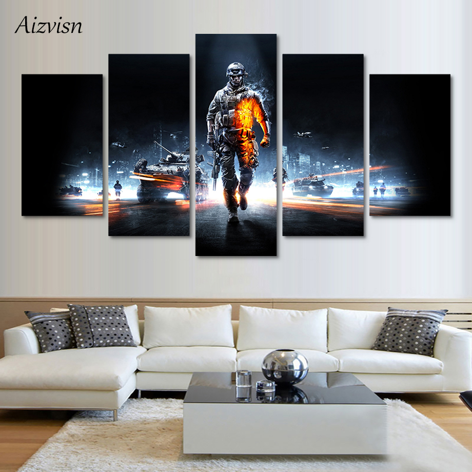 Aizvisn Modern Pictures Canvas Poster HD Printed Wall Art 5 Piece Home Decor Battlefield Male Warrior Game Painting Framed Art