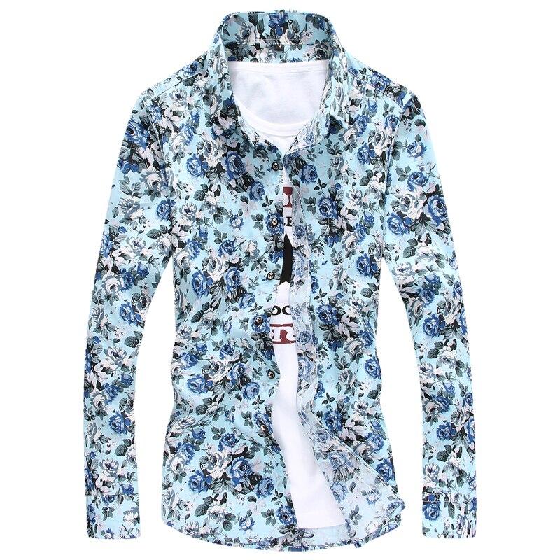 Men's long sleeved floral shirt autumn Korean fashion stylist stamp slim casual Floral Shirt Mens tide