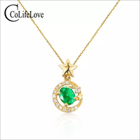 Yellow Gold Color silver emerald pendant with star 4 mm *5 mm natural emerald necklace pendant solid silver emerald jewelry gift