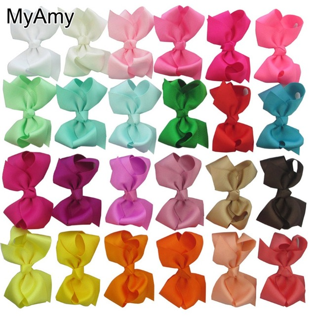 MyAmy EMS Free Shipping 500pcs/lot 40 colors 3.3'' boutique hair bows WITH alligator clip baby girl for baby girls children kid