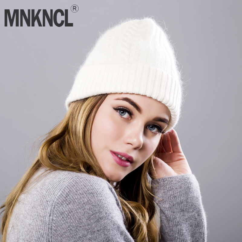 Rabbit Fur Knitted Hat Cap Women Winter Warm cashmere Beanie Hat Outdoor Sport Skullies Beanies Gorro