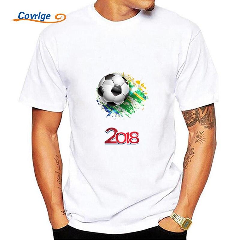 Covrlge D'été Homme de T-shirt 2018 La Russie Coupe Du Monde T-shirts Balle Impression Mâle Jersey 100% Coton Hommes À Manches Courtes Tops t-shirts