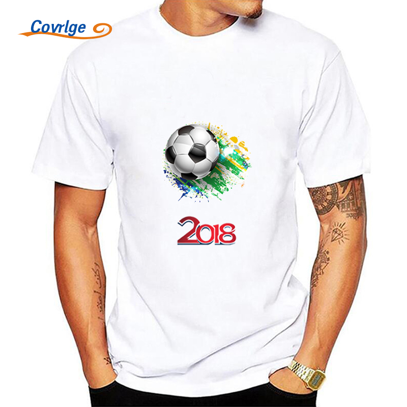 Covrlge Summer Man's T-shirt 2018 New Fashion T-shirts Ball Print Male Jerseys 100% Cotton Mens Short Sleeve Tops Tees MTS473