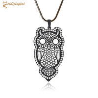 2016 New Trendy Owl Necklace Fashion Rhinestone Crystal Jewelry Women Statement Necklace Gold Chain Long Necklaces