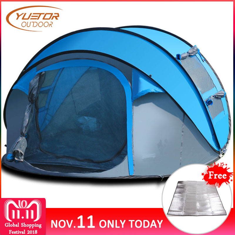 YUETOR OUTDOOR 4 Persons Automatic Pop Up Tent Outdoor Camping Hiking Waterproof Beach Tent Large Family Tents alltel super large anti rain 6 12 persons outdoor camping family cabin waterproof fishing beach tent 2 bedroom 1 living room