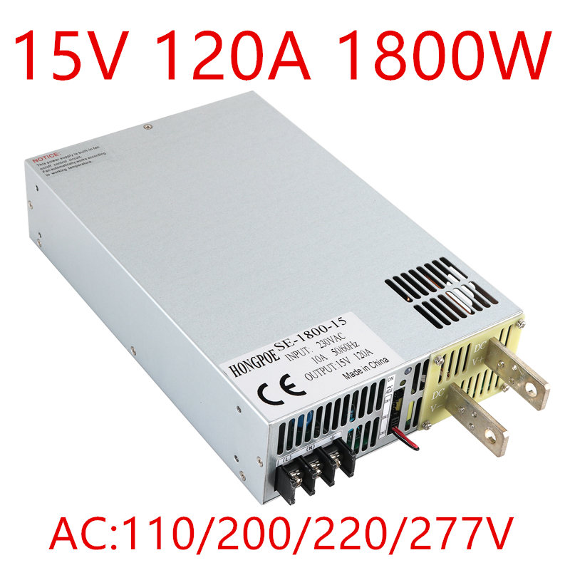 1PCS 1800W 120A 15V Power Supply 15V 120A Output voltage current adjustable, 0-5V analog signal control SE-1800-15 DC15V dc analog meter panel 15v current voltage ammeters 85c1 0 15v gauge