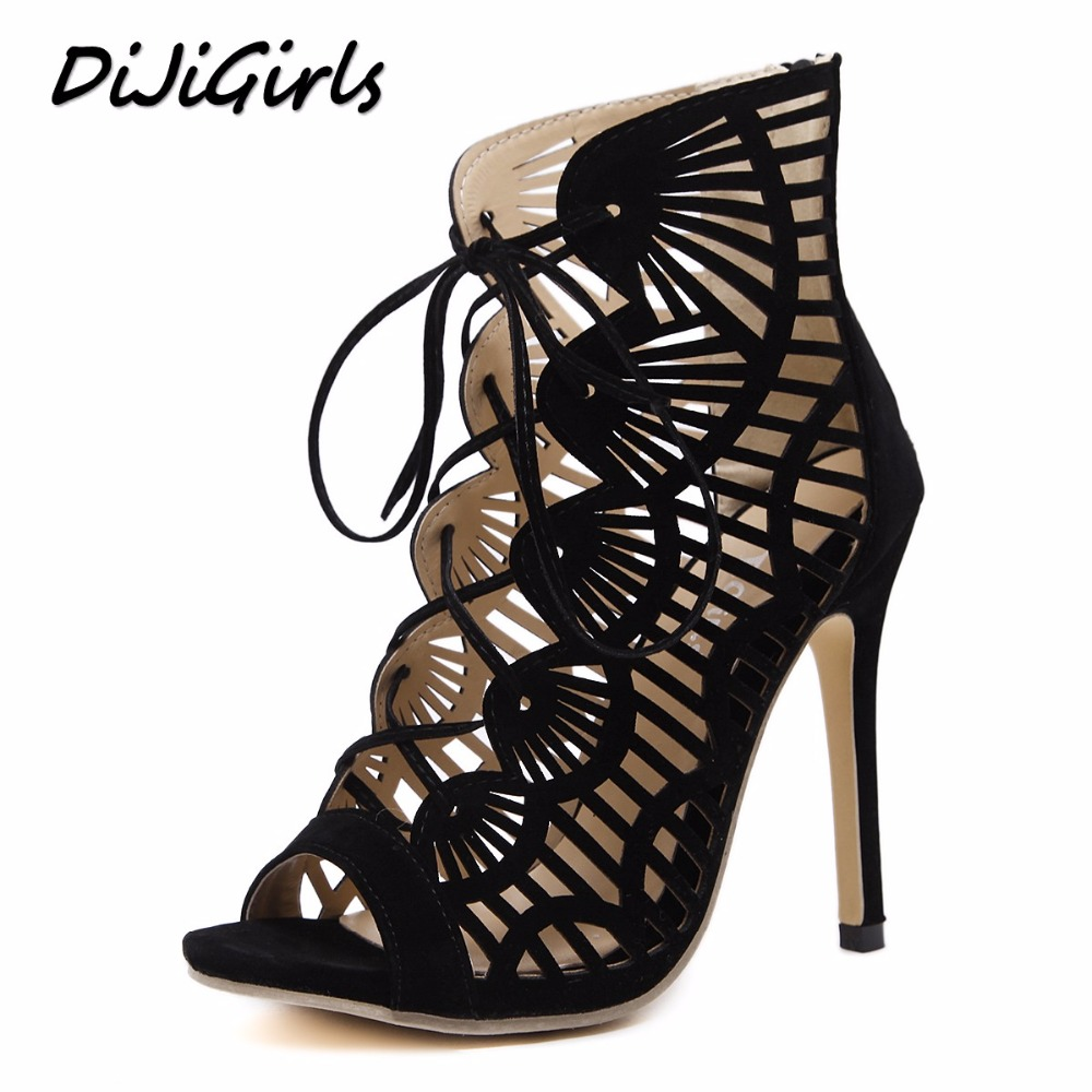 DiJiGilrs women gladiator sandals peep toe high heels shoes woman cross strap ladies stiletto fashion cut-outs rome shoes black fashion summer shoes metallic leather pompom caged ankle strap sandals peep toe cut outs spike heel gladiator sandals miquinha