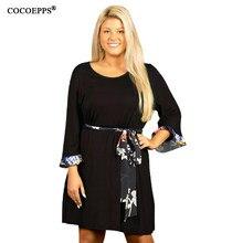 f8ca1a1aca COCOEPPS 2019 letnia sukienka duży rozmiar kobiety biuro panie kobiety  sukienka wiosna Casual czarny duży Plus rozmiar luźna suk.