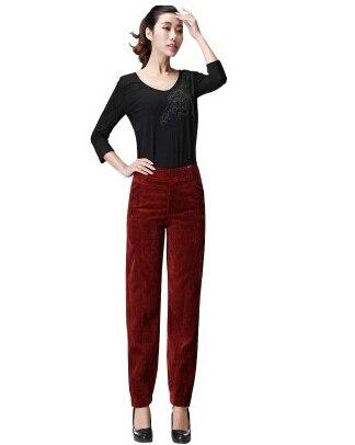 Осень весна зима вельветовые повседневные женские брюки с высокой талией длинные женские брюки больших размеров gbs0401 - Цвет: Красный