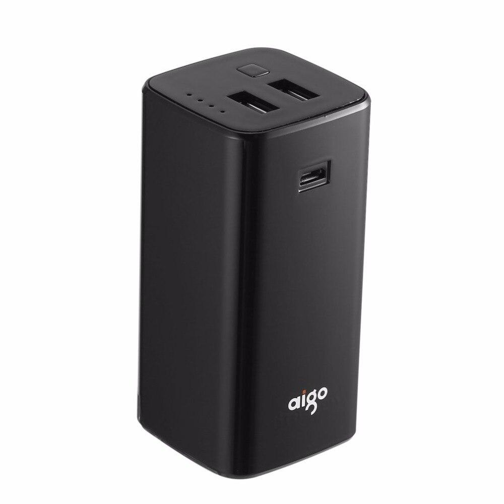 Aigo Mini 8800mAh Power Bank Portable Powerbank Dual USB LED Indictor Backup External Battery Pack for Smartphones Tablet PC