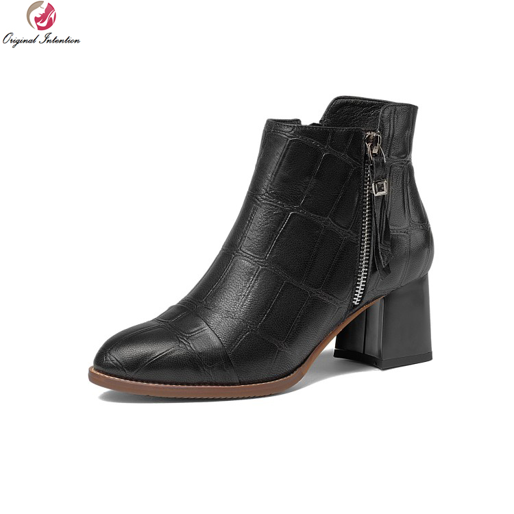 Original Intention New Women Ankle Boots Cow Leather Round Toe Square Heels Boots Popular Black Brown Shoes Women US Size 3-10.5 original intention new women ankle boots cow leather round toe square heels boots popular black brown shoes women us size 3 10 5