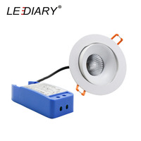 LEDIARY 75mm Cut Hole 220V LED Spot Downlights Dimmable Round Ceiling Recessed Lamp Angle Adjustable 5W/10W/15W Light Source