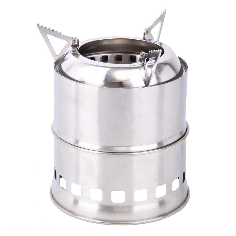 Portable Outdoor Wood Stove Backpacking Cooking Stove Stainless Steel Wood Burning Camping Stove outdoor portable stainless steel gas stove