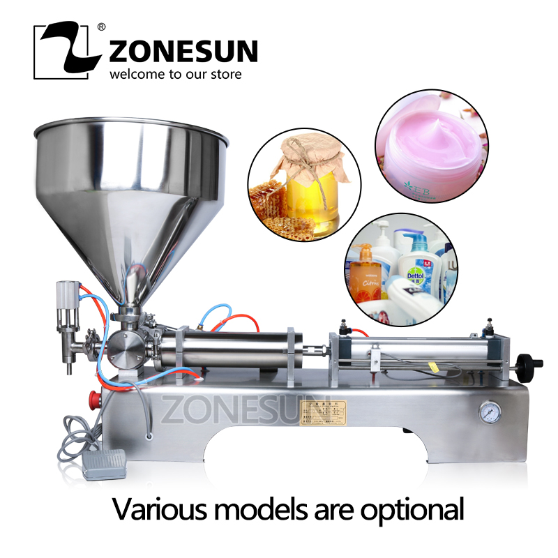 ZONESUN Pneumatic Cosmetic Yogurt Piston Filler Honey Essential Oil Arequipe Soap Ice Cream Shampoo Liquid Paste Filling Machine