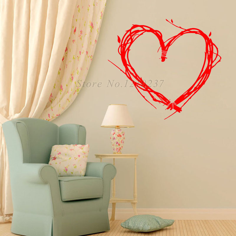 Dctop Creative Design Tree Twigs Heart Shaped Wall Stickers For Bedroom Decoration Vinyl