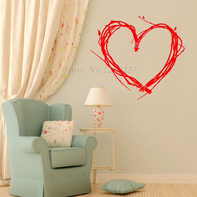 DCTOP Creative Design Tree Twigs Heart Shaped Wall Stickers For ...