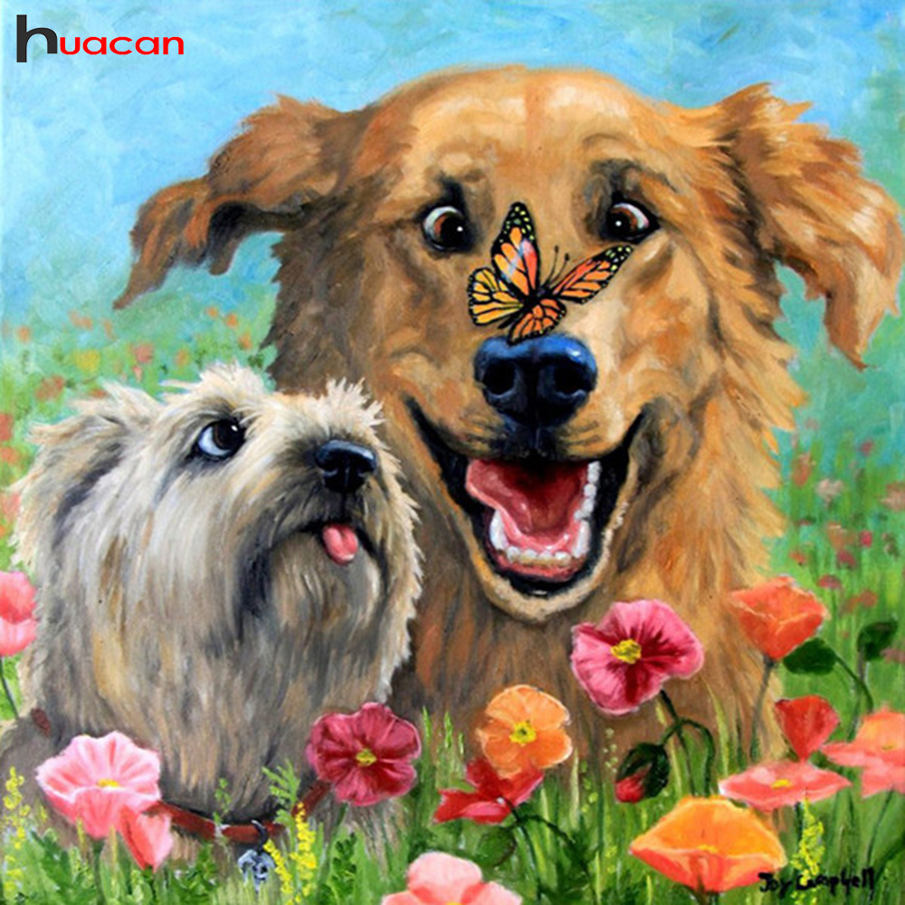 Huacan Diamond Embroidery Sale Animal Cross Stitch Diamond Mosaic Flower Picture Of RhinestonesDiamond Painting Full Square Dog