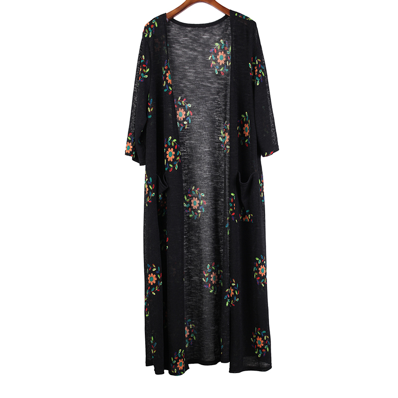 Outwear Coats Female Cardigan Pocket Spring Oversize Floral-Print Loose Women Summer