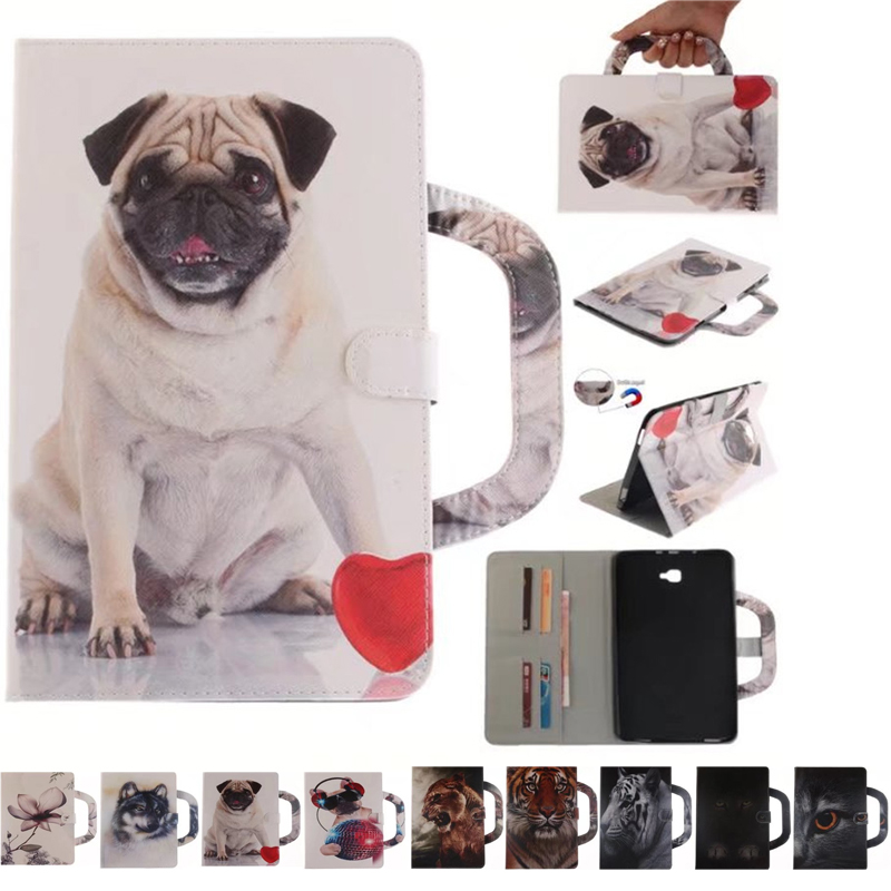 Fashion Animal dog Case For Samsung Tab A a6 10.1 T580 T585 SM-T585 Case Cover Tablet Smart Stand Silicone+PU Leather Shell