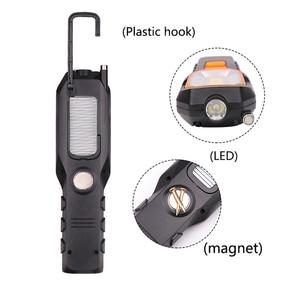 Image 4 - Dropshipping taşınabilir el USB el feneri LED şarj edilebilir çalışma lambası COB dönebilir meşale mıknatıs kanca 4 modu araba