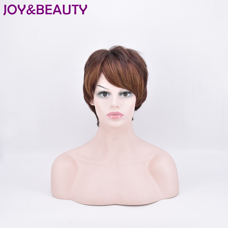 JOY&BEAUTY Short Body Wave Synthetic hair Wig High Temperature Fiber Light brown/deep br ...