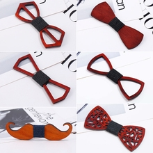 Men Unisex Hollow Out Carved Retro Wooden Neck Bow Ties Adjustable Strap Vintage