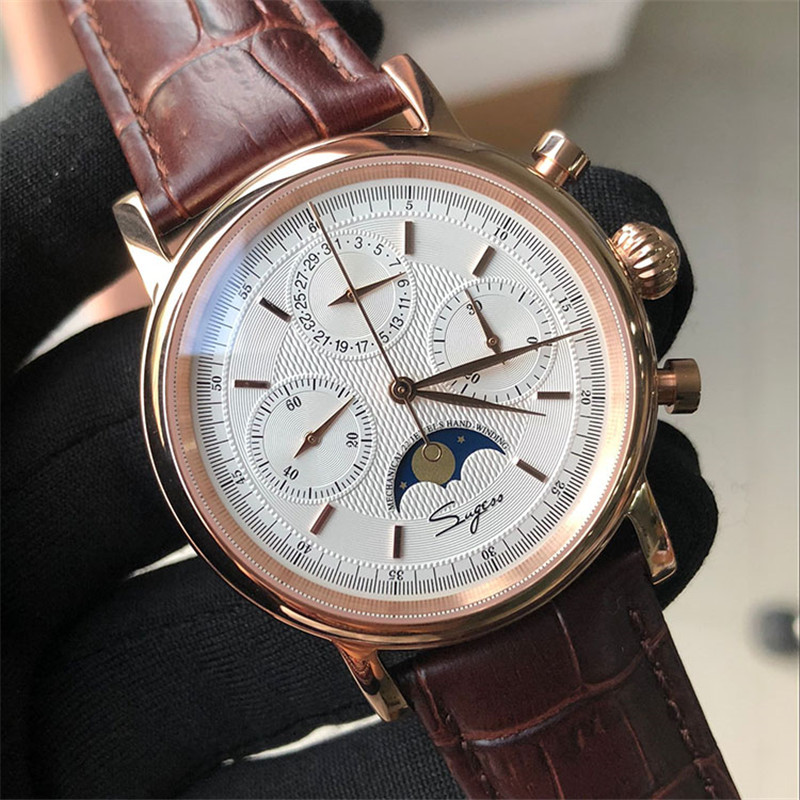 Calendar Moon Phase Mechanical Watch Mens Seagull ST1908 Hand Winding Movement Watches Men's Stop Watch Chronograph Male Clock(China)