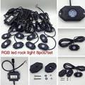 Envío gratis 9 W RGB LED de Rock luces impermeable Off Road llevó luz de la roca Kit - 8 Pods LED de Rock luces para campo a través