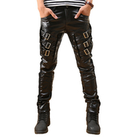 Leather Pants Men Punk Pu Faux Tights Thicken Winter Hip Hop Pants Teenager Hipster Motorcycle Biker