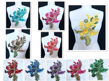 1 Piece  Purple Red Green Blue Yellow Floral 3D Beaded Bridal Gown Lace Applique Embroidery Patches Trim Collar 35x21cm