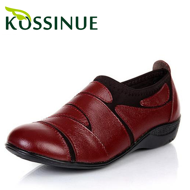 2016 comfortable genuine leather shoes spring/autumn mother shoes low-top shoes round toe single shoes work shoes size(35-41)