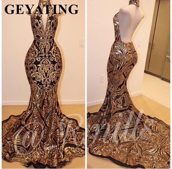 Sparkly Gold Sequin Long Mermaid Black African Prom Dresses 2019 Sexy Halter Keyhole Backless Evening Party Gowns Formal Dress