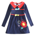 Girl long sleeve dress children 100% cotton embroidery clothing girl princess dress kids polka dot spring autumn dress H5733