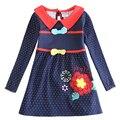 Menina vestido de manga longa crianças 100% algodão bordado roupa da menina vestido de princesa crianças polka dot primavera outono vestido H5733