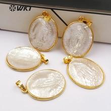 Pendiente con forma ovalada de la Virgen santa, colgante de estilo religioso para la fabricación de collares, WT P1353, WKT, al por mayor