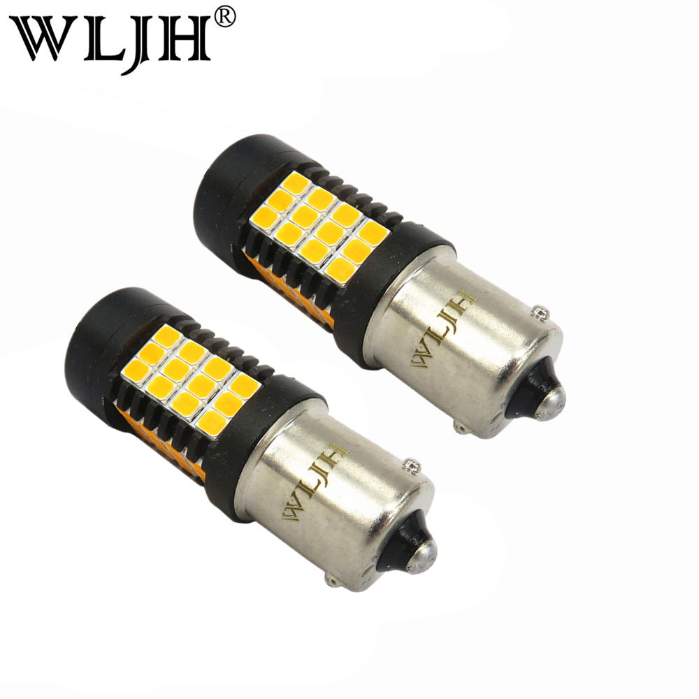 WLJH 2x BAU15S LED Amber 1156PY PY21W 2835SMD LED Auto Car Light Tail Back up Light Front Rear Turn Signal Yellow Bulb 9-30V 1056 auto bulbs py21w s25 led 3014 smd car tail bulb turn signal auto reverse lamp daytime running light amber white yellow