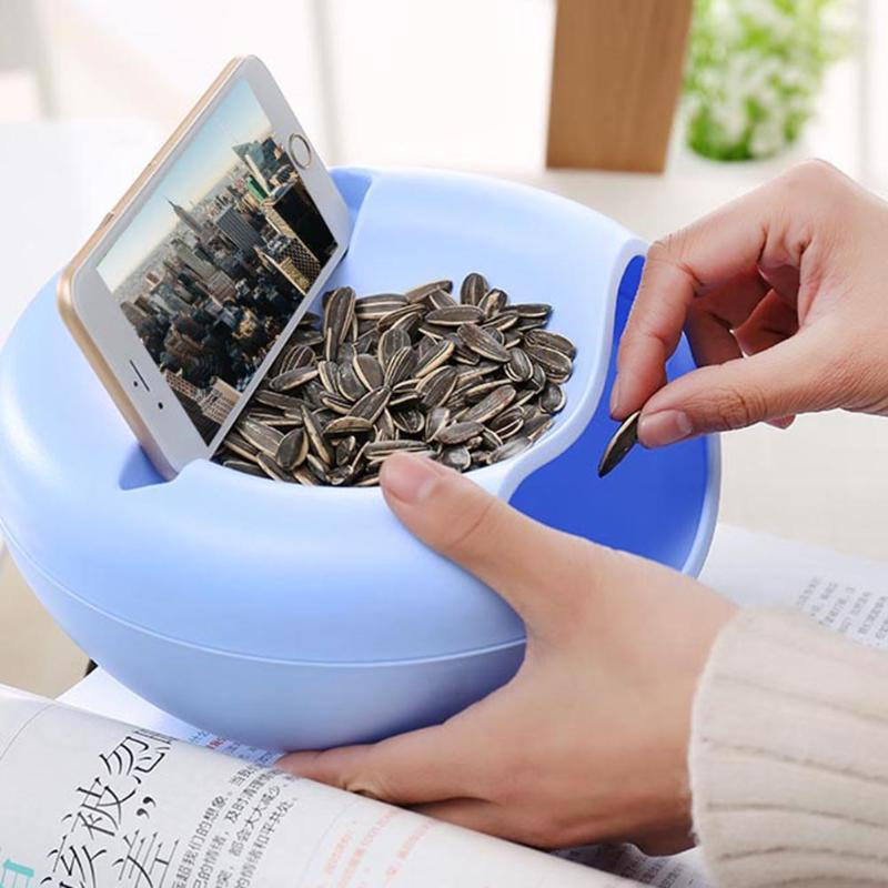 Double Layer Plastic Box Dry Fruit Containers Snacks Seeds Storage Box Phone Organizer Holder Stand For Bedding Garbage Holder