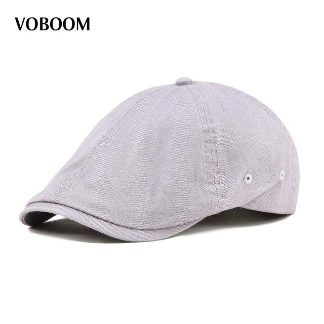 VOBOOM Summer Cotton Ivy Flat Cap Men Women Solid Casual Driver Cabbie  Elastic Adjustable Boina Berets 062 5161cff96dfb