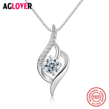 New Arrivals Fashion Zircon Pendant Necklace 925 Sterling Silver Statement Womens Wedding Jewelry