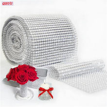 12cm*90cm Bling Diamond Mesh Roll Event Party Birthday Wedding DIY Decorations Table Cake Wrap Crystal Ribbons Tulle 8ZHH193(China)