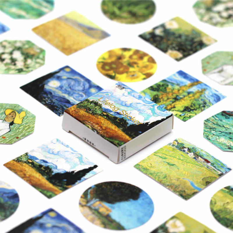 40 PCS Colour Oil Painting Sticker Building Decals Stickers Gifts for Children to Laptop Suitcase Guitar Fridge Bicycle Car