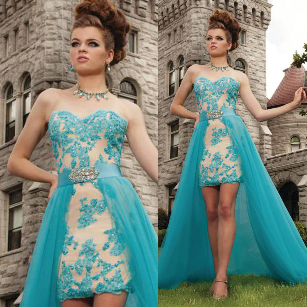 Removable Train Teal Turquoise Blue Lace Prom Dress 2016 Vestidos De ...