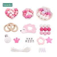 Bopoobo 1Set Silicone Hedgehog DIY Set Baby Silicone Beads BPA Free Baby Nurs Accessories Christmas Gift Baby Teethers