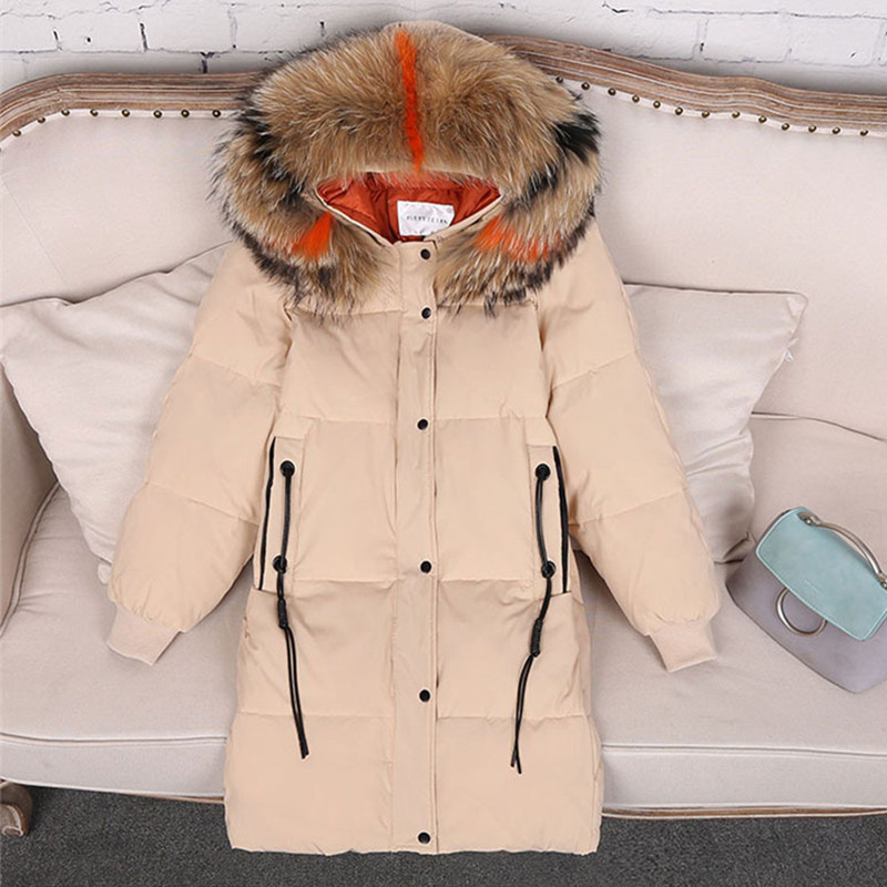 Winter parkas women   down   jacket Plus size 5XL Natural fur collar hoodie tops female Thick warm   down     coats   100KG can be worn 2178
