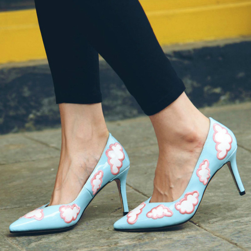 New fashion large size brand cute party wedding shallow pointed toe high heel women pumps sweet brand causal office lady shoes new 2017 spring summer women shoes pointed toe high quality brand fashion womens flats ladies plus size 41 sweet flock t179