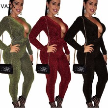 VAZN 2017 Hot Fashion Style Long Jumpsuit Bodycon Solid Sleeve Women Set Summer Deep V-neck Party Rompers A7513L
