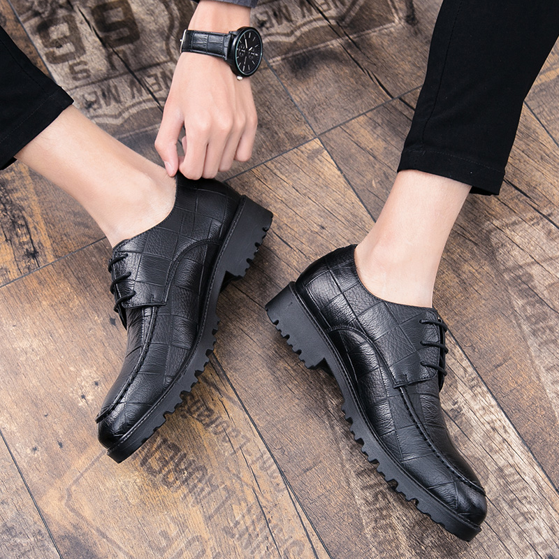 2019 fashion men 39 s shoes casual leather lace up classic black amp brown shoe man big size 38 47 breathable shoes for men hot sale in Men 39 s Casual Shoes from Shoes