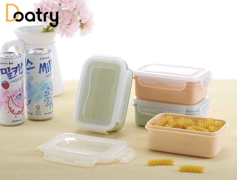 1 Pc Round Square Shape LunchBox Food Grade Plastic Food Storage Container  Picnic Storage Box With Microwave Cutlery Set In Dinnerware Sets From Home  ...